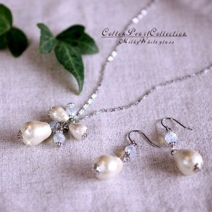 Oval Cotton Pearl Milky White Glass Necklace Stainless Hook Pierced Earring
