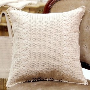 Natural Pearl Crochet Cushion Cover