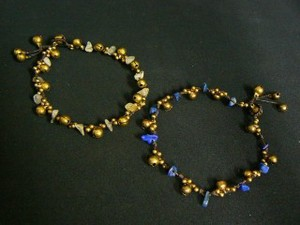 Brass Anklet Color Stone