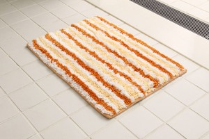Bath Mat Orange Funwari Fluffy Water Absorption Border
