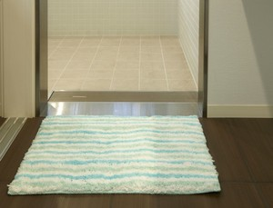 Bath Mat Green Funwari Fluffy Water Absorption Border