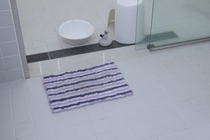 Bath Mat Purple Funwari Fluffy Water Absorption Border