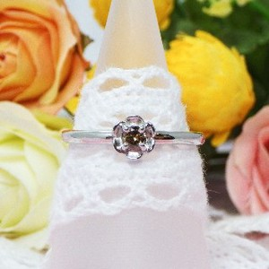 Silver 925 Birthstone Flower Ring
