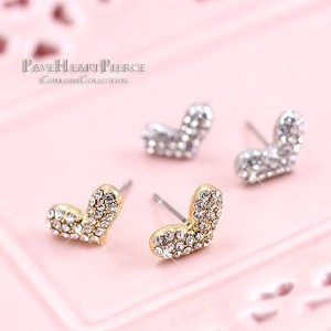 Glitter Crystal Use Pave Heart Pierced Earring Titanium Post Form