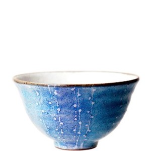 Flower Japanese Rice Bowl Blue