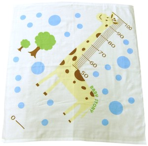Made in Japan One Side Gauze Square Bathing Towel Giraffe Height Meter Print Gauze Towel