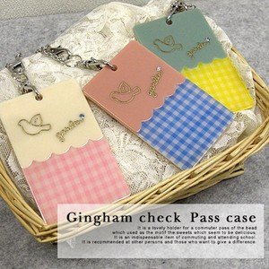 Gingham Check Wrap Commuter Pass Holder Acrylic Commuter Pass Holder Fabric