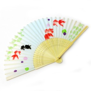 Fashion Accessory Japanese Style Silk Folding Fan Silk Folding Fan Goldfish Blue