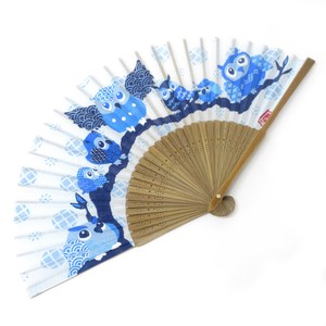 Fashion Accessory Japanese Style Silk Folding Fan Seven Gods Of Good Fortune Owl