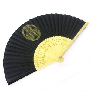 Fashion Accessory Japanese Style Silk Folding Fan Busho Folding Fan Black