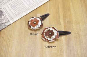 Leather Motif Lace Hair Clip Flower