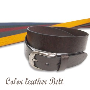 Plain Color Leather Belt Cow Leather Adjustment
