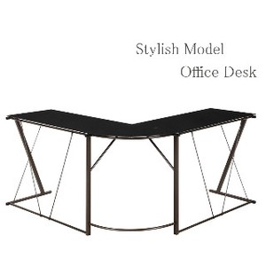 Glass Desk Black Brown