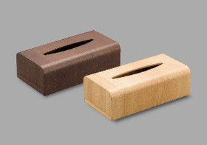 Wooden Tissue Box Dark Brown Natural