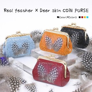 Real Feather Dear Skin Coin Purse Wallet