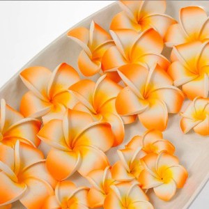 Frangipani Sponge Artificial Flower Orange