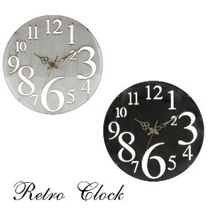 Wall Clock Retro White Black