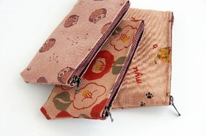 Persimmon -Dyed Pouch Liberty Liberty Color Cat Owl Japanese Pattern Pencil Case