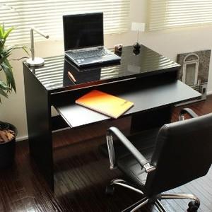 【6/上】パソコンデスク スライドテーブル付 鏡面仕上 日本製 90cm幅 ブラック