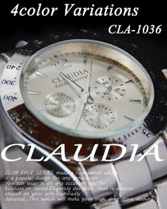 Case CLAUDIA Metal Type Silver Design Chronogram Men's Wrist Watch