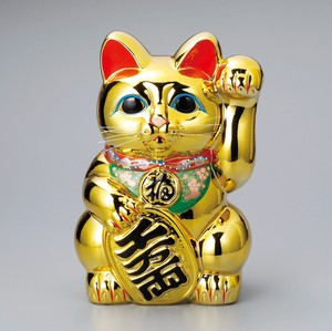 "The Left Hand Cat ""Tokoname ware"" Gold Koban Cat"