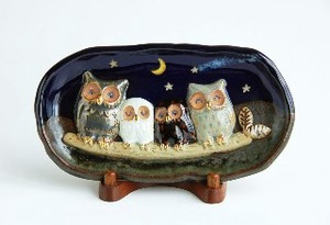 Starry Sky Owl Wooden Plate Ornament