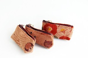 Persimmon -Dyed Attached Coin Purse Liberty Liberty Color Cat Owl Japanese Pattern