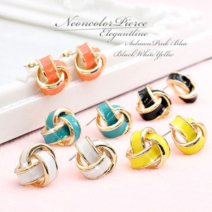 Neon Color Pierced Earring Salmon Pink Blue Yellow White Black