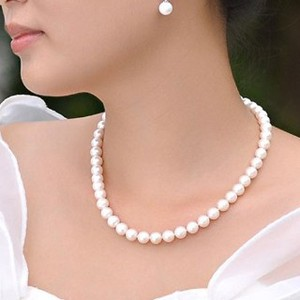 Shell Pearl Necklace Pearl Necklace Earring Set
