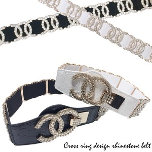Rhinestone Attached Closs Ring Design Elastic Belt Belt