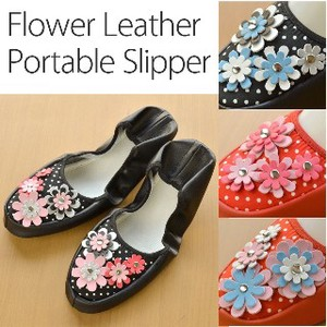 Flower Leather Portable Slipper Room Shoe Compact