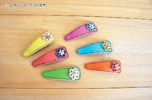 Leather Hair Clip Flower Wood Beads