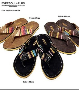 Colorful Ethnic Border Genuine Leather Leather Popular Men's Leather Sandal