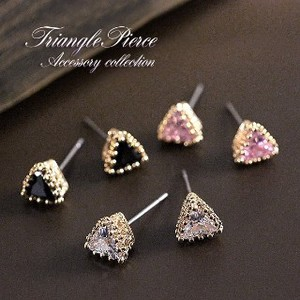 Triangle Pierced Earring Gold Zirconia Titanium Post Use Triangle