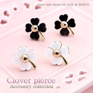 Good Luck Four Leaves Clover Pierced Earring Titanium Post Use
