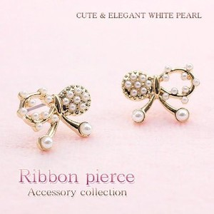 Baby Pearl Ribbon Pierced Earring Titanium Post Use