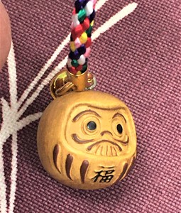 Daruma Cell Phone Charm Wood Grain
