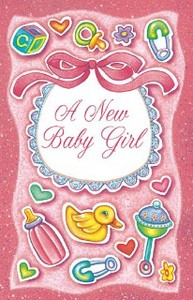 Greeting Card Birth For Girl Toy Ribbon