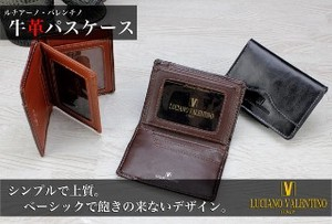 Commuter Pass Holder Business Card Holder Men's Cow Leather