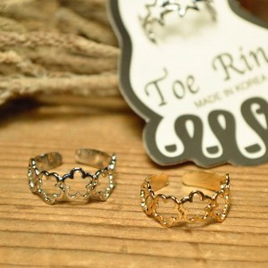 Flower Motif Toe Ring 2 Colors Gold Silver