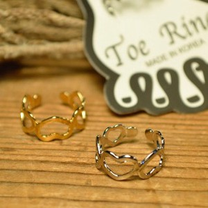 Heart Motif Toe Ring 2 Colors Gold Silver