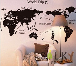 Wall Sticker Black Map Trip