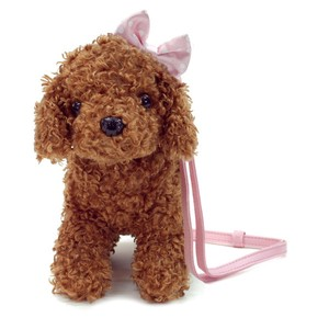 Mini Pochette  shoulder bag purse /   stuffed poodle Pink Ribbon