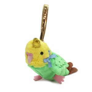 Crowned Pouch Parakeet Green / A plush zipper-back parakeet shaped pouch