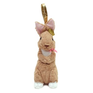 Crown Pouch Gray Browm / A plush zipper-back bunny-shaped pouch