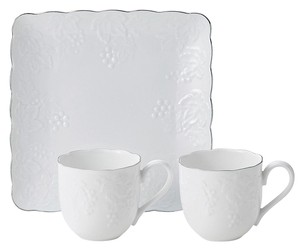 Grape Pair Mag Cups Tray Set Gift White Porcelains