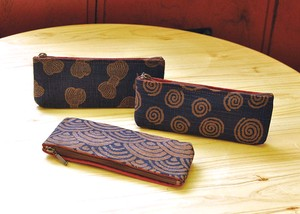 Persimmon Tannin Dyeing Pencil Case Bobbin Aomi Japanese Pattern