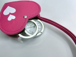 Heart Charm Clock/Watch 6 Pcs Set Loupe Attached