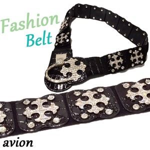 Rhinestone Attached Closs Design Elastic Belt Belt