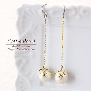 Cotton Pearl Long Pierced Earring Leaf Watermark Elegant Gold Silver